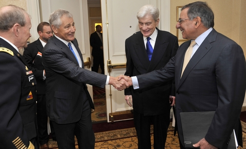 Chuck Hagel (pictured left, shaking hands)