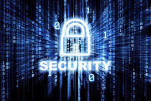 Binary matrix with glowing security lock