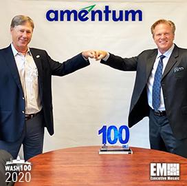 Amentum CEO John Vollmer Receives His Fifth Wash100 Award From Executive Mosaic CEO Jim Garrettson