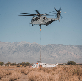 Marine Corps Demos Operational Heavy Lift Capability With King Stallion Helicopter; Lt.Col. Luke Frank Quoted